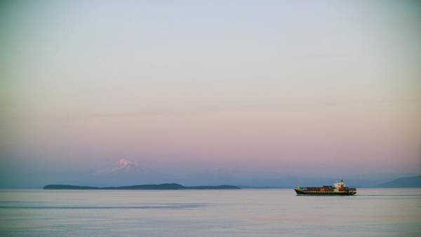 Cargo Containers Wall Art - Photograph - A Container Ship In Front Of Mt. Baker by Jonathan Kingston
