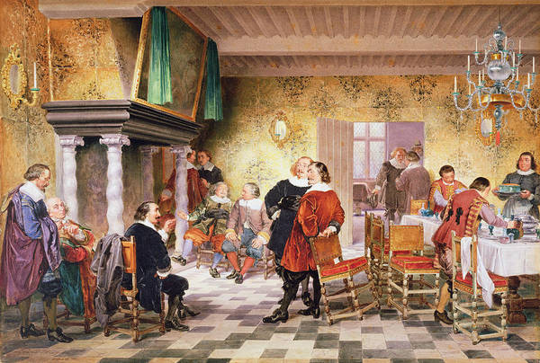 Reconstruction Drawing - A Convivial Meeting Of The Brewers by Louis Haghe