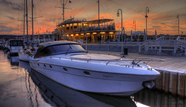 A Cool Motorboat Yacht In Sopot Marina Art Print