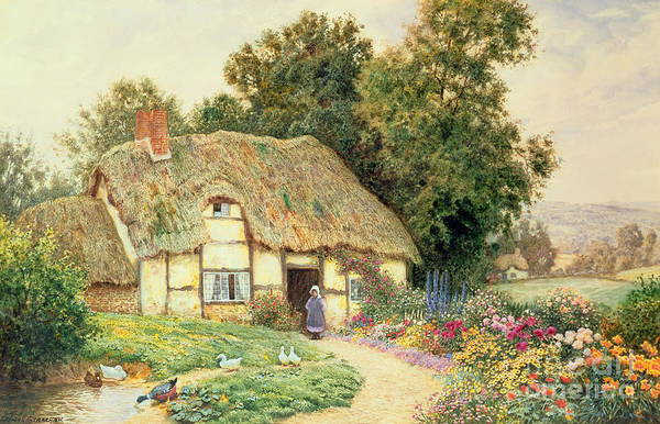 Wall Art - Painting - A Cottage By A Duck Pond by Arthur Claude Strachan