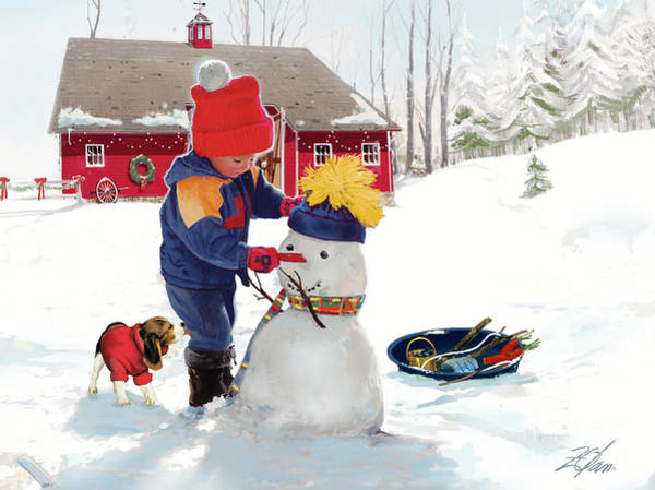 Barn Snow Painting - A Country Christmas by Donald Zolan