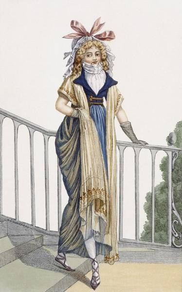 Balcony Drawing - A Country Style Walking Dress by French School