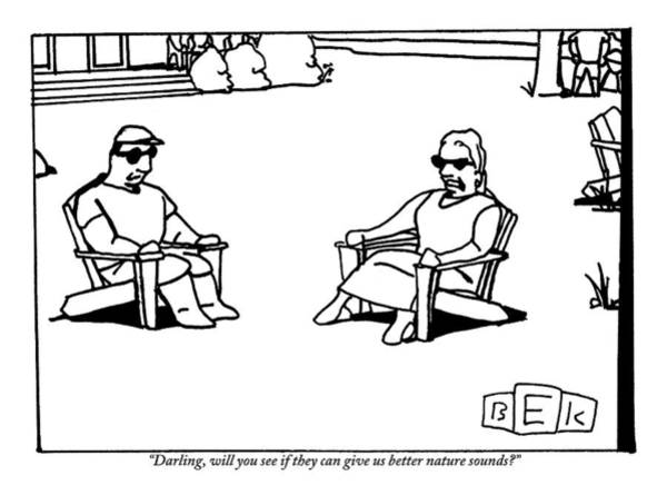 Better Drawing - A Couple Are Sitting And Talking On Lawn Chairs by Bruce Eric Kaplan