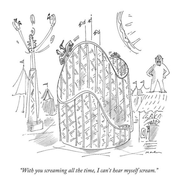 Roller Coasters Drawing - A Couple Argues On A Roller-coaster by Michael Maslin