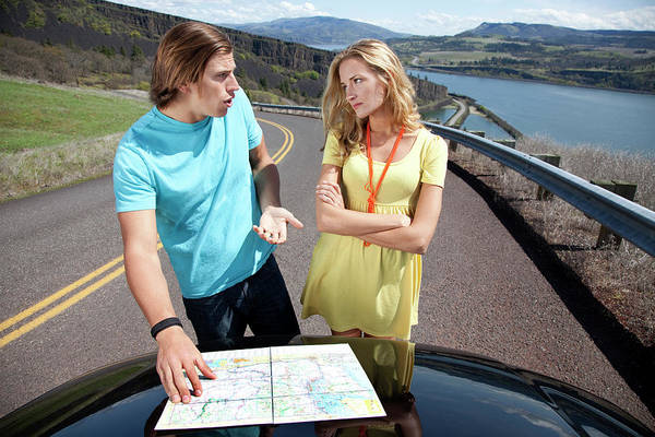 Road Map Photograph - A Couple Argues While Reading A Road by Jordan Siemens