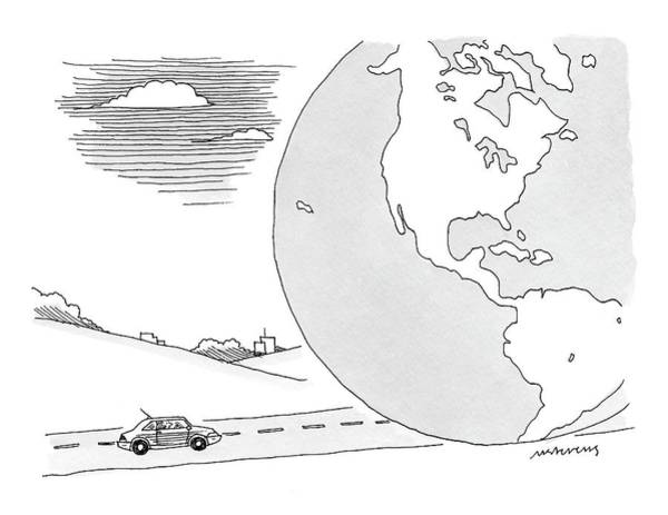 Earth Drawing - A Couple Drives Towards A Giant Earth by Mick Stevens