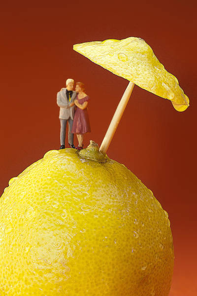 Wall Art - Painting - A Couple In Lemon Rain Little People On Food by Paul Ge