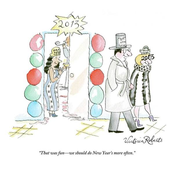 Fun Drawing - A Couple Leave A New Years Party Together by Victoria Roberts