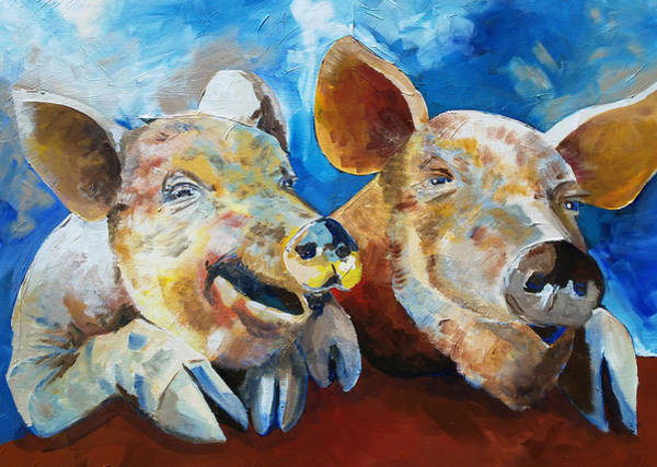 Painting - A Couple Of Dirty Pigs by Sean Parnell