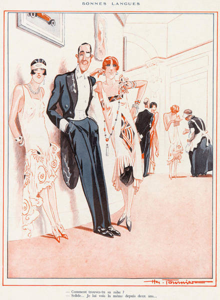 Flappers Drawing - A Couple Of Flappers And A  Gentleman by Mary Evans Picture Library