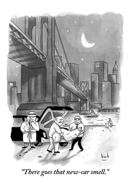 Drawing - A Couple Of Mafia Employees Take A Bodybag by Bob Eckstein