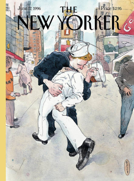 Gay Painting - A Couple Reenacts A Famous World War II Kiss by Barry Blitt