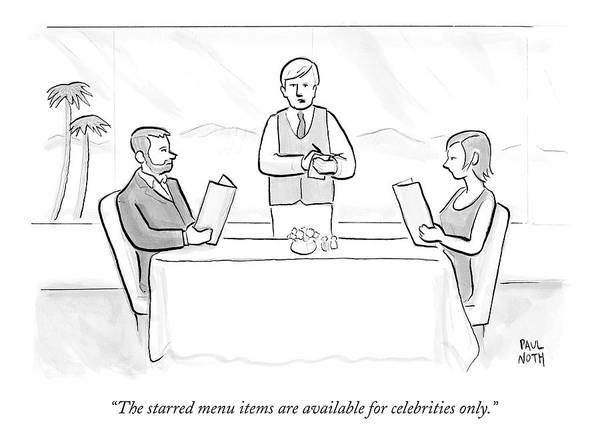 Celebrities Drawing - A Couple Sit At A Restaurant Table by Paul Noth