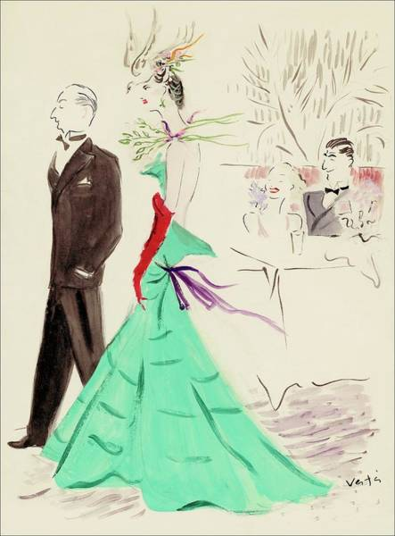 Dress Digital Art - A Couple Standing In Profile by Marcel Vertes