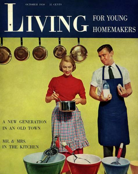 Yellow Background Digital Art - A Couple Standing Next To Ekco Products Cooking by Phillipe Halsman