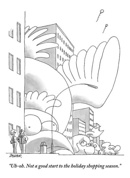 Thanksgiving Drawing - A Couple Stands On A City Street Where Holiday by Jack Ziegler
