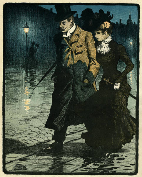 Wet Drawing - A Couple Walk Through The Wet  Streets by Mary Evans Picture Library