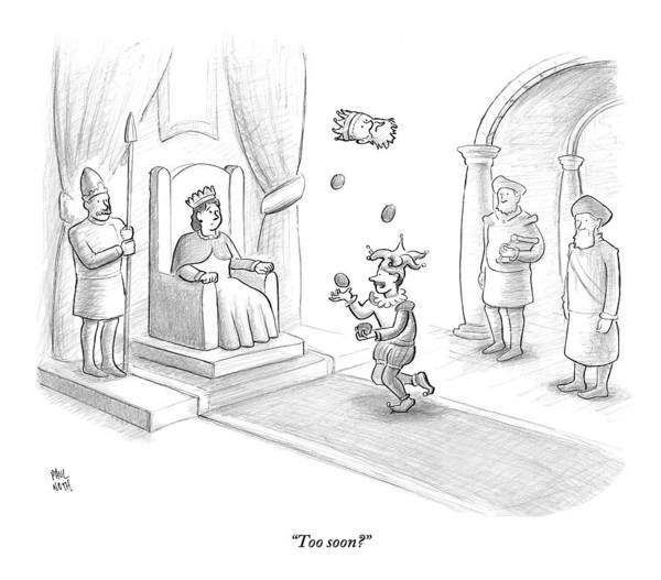 Royalty Drawing - A Court Jester Juggles Balls And The Head by Paul Noth