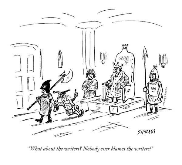 Writers Drawing - A Court Jester Says To The King by David Sipress