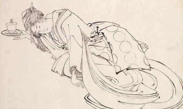 Saucer Drawing - A Courtesan Offering A Cup by Japanese School