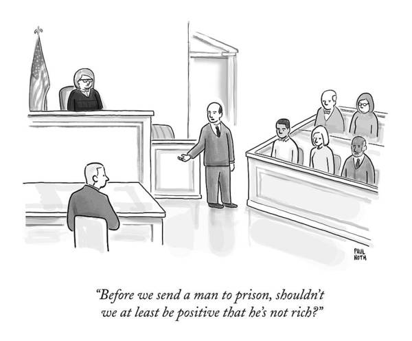 Money Drawing - A Courtroom Lawyer Argues His Case by Paul Noth