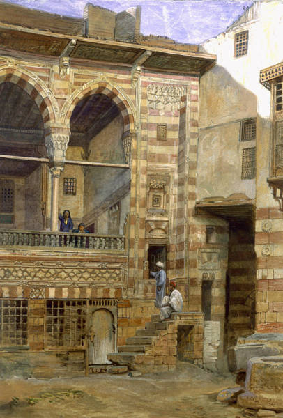 Egypt Drawing - A Courtyard In Cairo by Frank Dillon