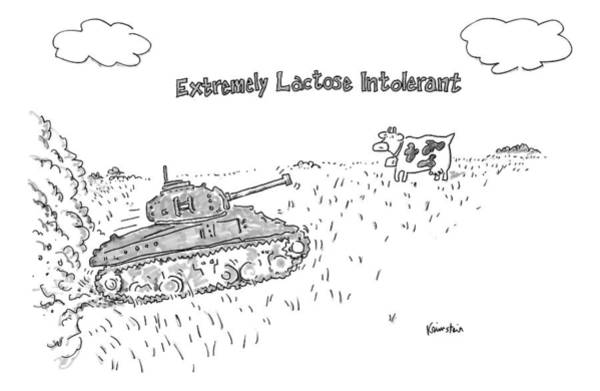 January 31st Drawing - A Cow In A Pasture Watches As A Tank Approaches by Ken Krimstein