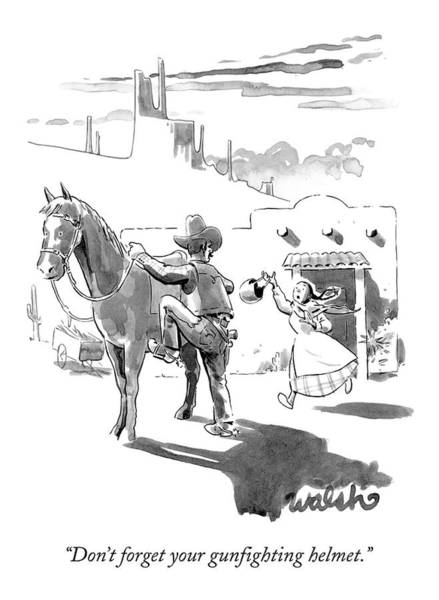 Helmet Drawing - A Cowboy Mounts A Horse by Liam Walsh