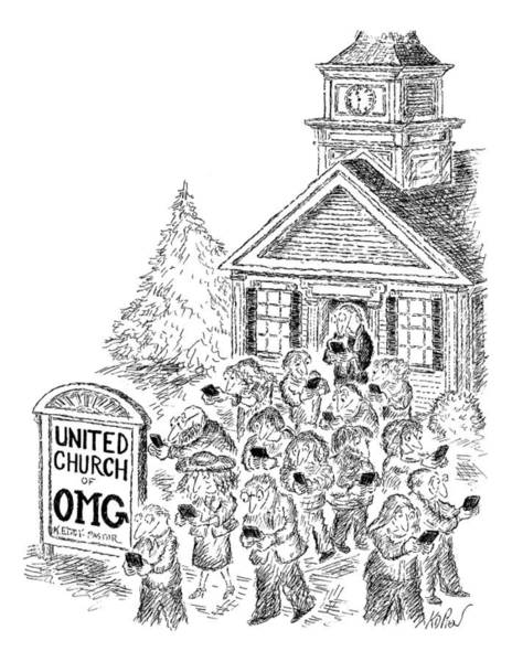 January 31st Drawing - A Crowd Disperses Outside A Church by Edward Koren