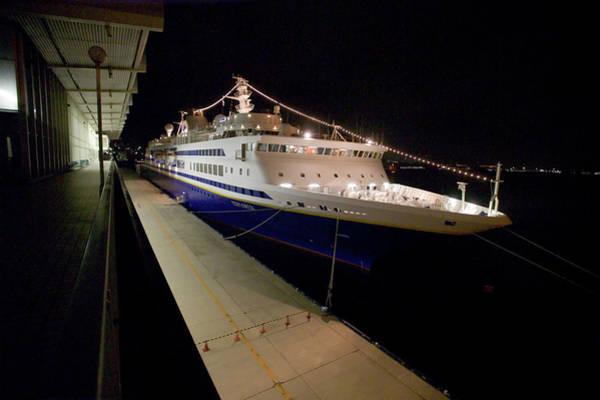 Kansai Region Wall Art - Photograph - A Cruise Ship At Night Docked by Jonathan Kingston