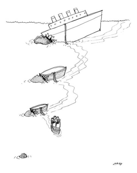 Shipwreck Drawing - A Cruise Ship Has Crashed Into An Iceburg by Edward Steed