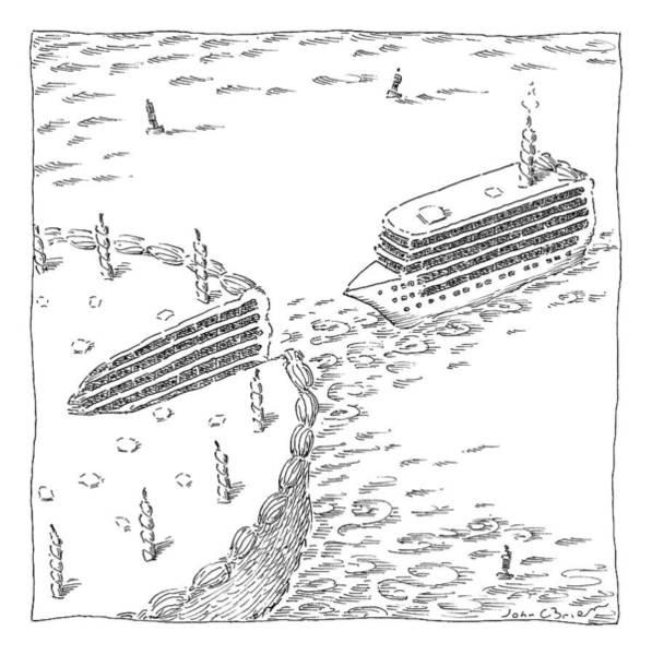 Birthday Cake Drawing - A Cruise Ship Shaped Like A Wedge Of Birthday by John O'Brien