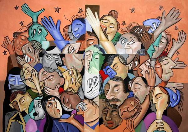 Cubist Wall Art - Painting - A Cubist Prayer One World One God by Anthony Falbo