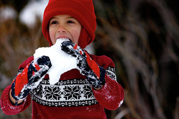 Wall Art - Photograph - A Cute Young Boy Eating Snow by Corey Rich