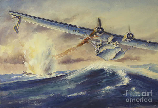 Blast Wave Wall Art - Digital Art - A Damaged Pby Catalina Aircraft by TriFocal Communications