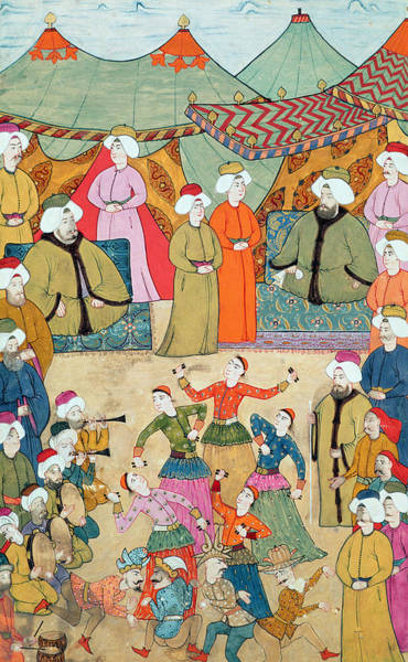 People Watching Painting - A Dance For The Pleasure Of Sultan Ahmet IIi 1673-1736 From The Surnama, 1720 by Ottoman School