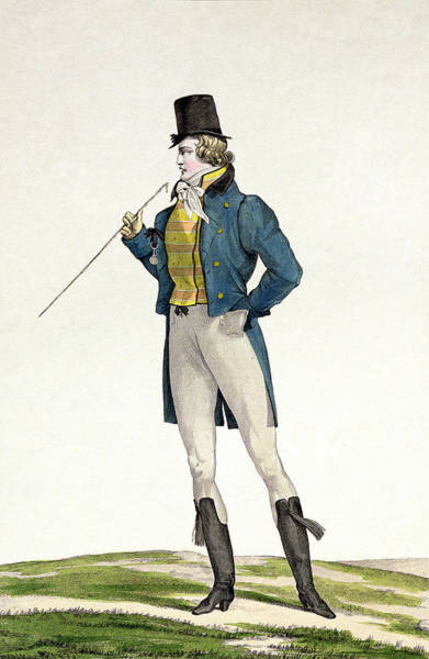 Fashion Plate Painting - A Dandy In A Robinson Hat by Antoine Charles Horace Vernet
