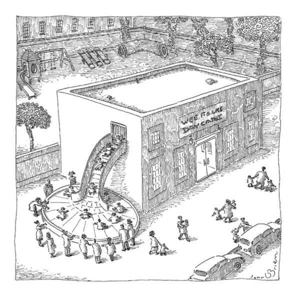 Care Drawing - A Day Care Is Seen With Children Riding by John O'Brien
