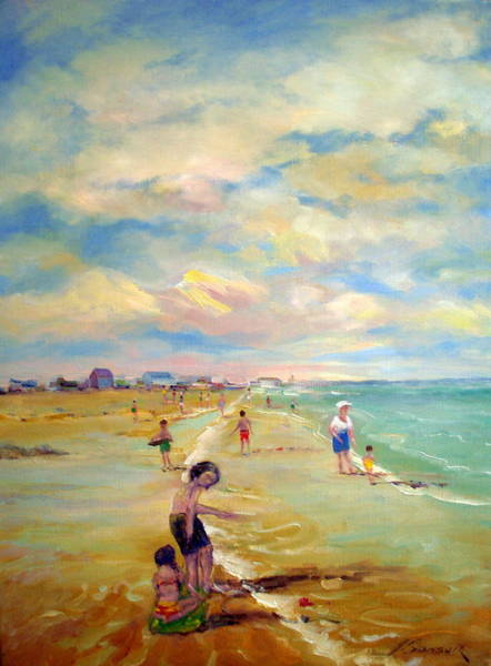Cape May Painting - a day in cape may New Jersey by Adel Sansur