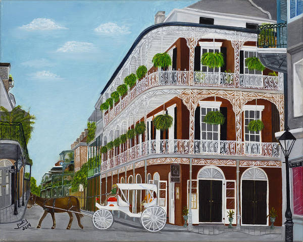 Wall Art - Painting - A Carriage Ride In The French Quarter by Judy Jones