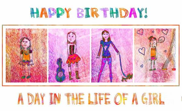 Hair Of The Dog Wall Art - Drawing - A Day In The Life Of A Girl 2 - Birthday Card by Barbara Griffin