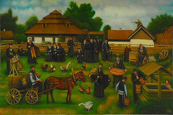Wall Art - Painting - A Day In The Life Of The Shtetl. by Eduard Gurevich