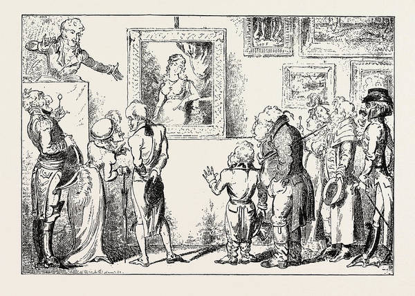 Wall Art - Drawing - A Day Of Fashion In The Morning Drop In At Christies by Cruikshank, George (1792-1878), English