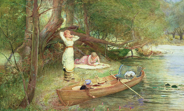 Riverbank Painting - A Day On The River by John Parker