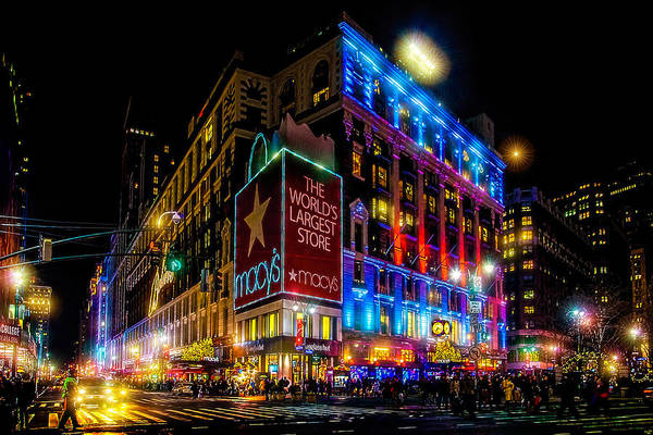 Wall Art - Photograph - A December Evening At Macy's  by Chris Lord