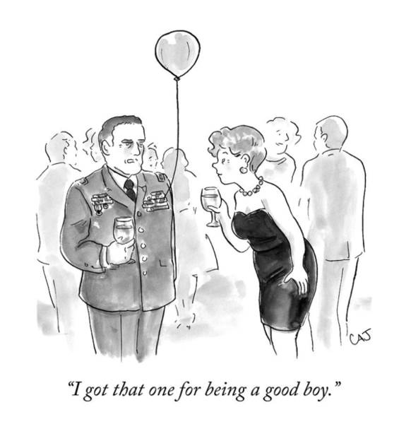 Military Drawing - A Decorated Military Officer At A Cocktail Party by Carolita Johnson