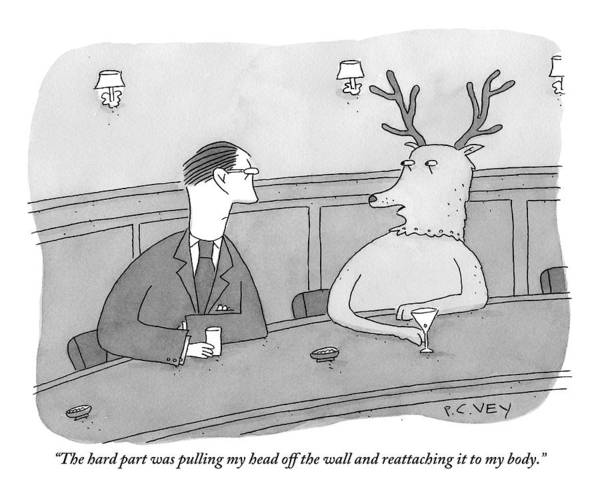 April 2nd Drawing - A Deer Talks To A Man At A Bar by Peter C. Vey