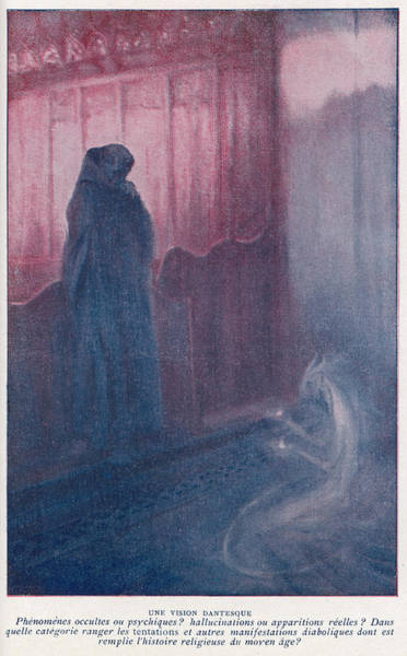 Folklore Drawing - A Demonic Entity Appears  To Trouble by Mary Evans Picture Library