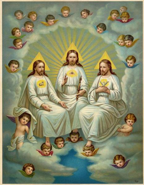 Holy Ghost Drawing - A Depiction Of The Holy Trinity by Mary Evans Picture Library