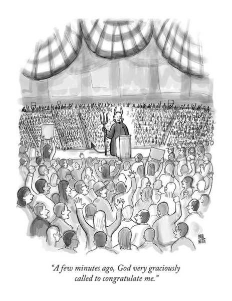 Campaign Drawing - A Devil Speaking At A Massive Political Rally by Paul Noth